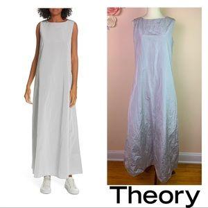 New! THEORY A-Line Crinkle Taffeta Maxi Dress